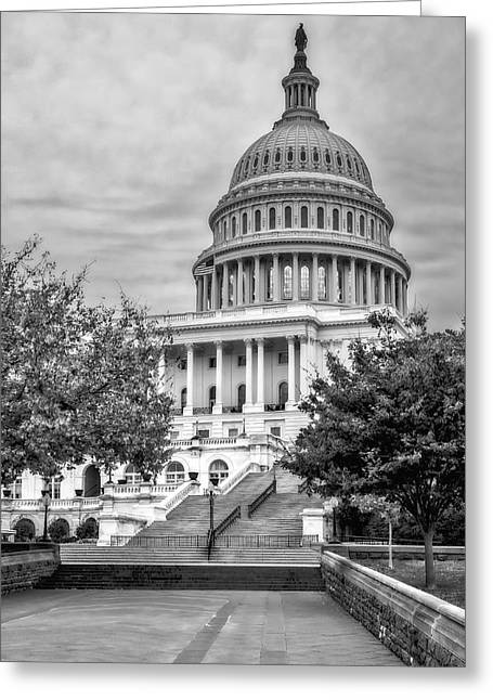 U.s. Capitol Greeting Cards - United States Capitol BW Greeting Card by Susan Candelario