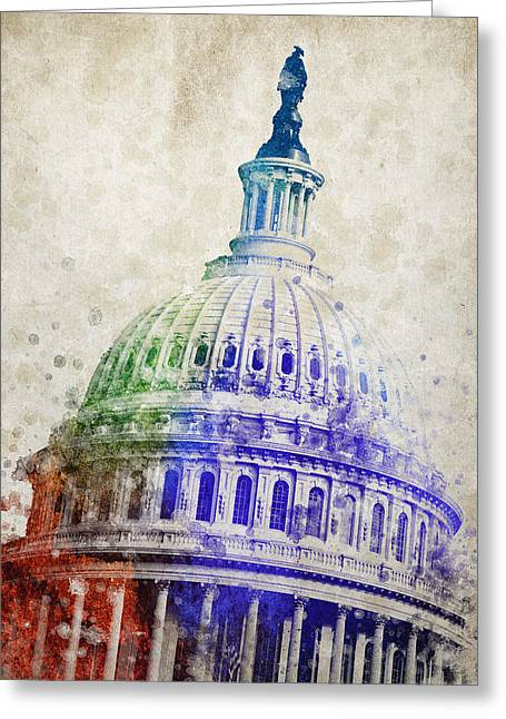 Domes Mixed Media Greeting Cards - United States Capitol Dome Greeting Card by Aged Pixel