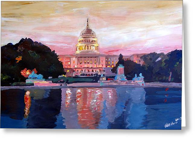 United States Capitol In Washington D.c. At Sunset Greeting Card by M Bleichner