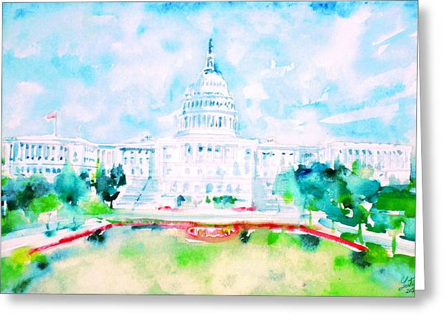 United States Capitol Dome Greeting Cards - UNITED STATES CAPITOL - watercolor portrait Greeting Card by Fabrizio Cassetta