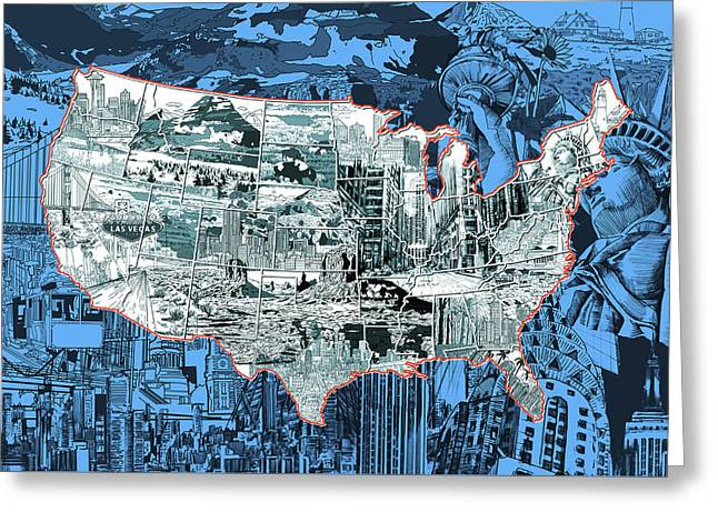 Las Vegas Art Greeting Cards - United States Drawing Collage Map 2 Greeting Card by MB Art factory