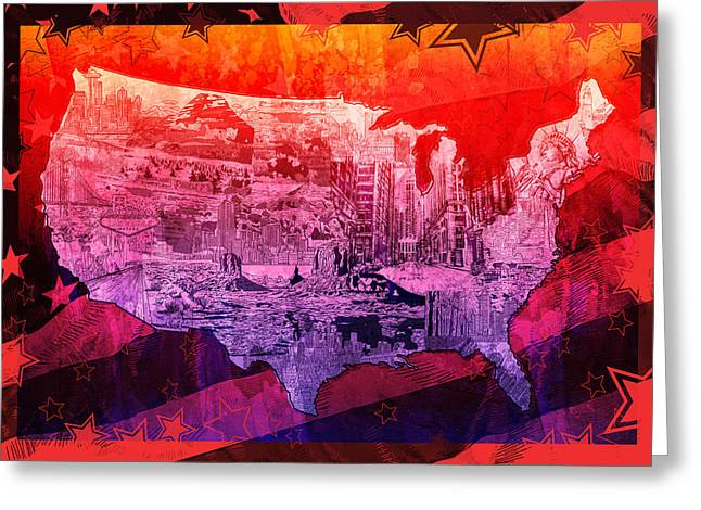 United States Drawing Collage Map 3 Greeting Card by Bekim Art