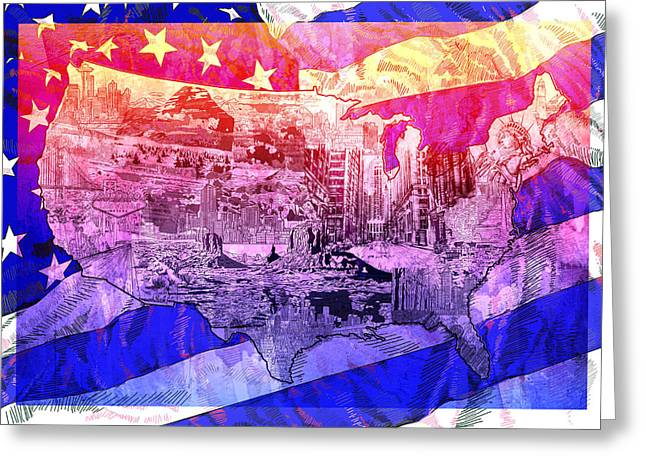 United States Drawing Collage Map 4 Greeting Card by Bekim Art