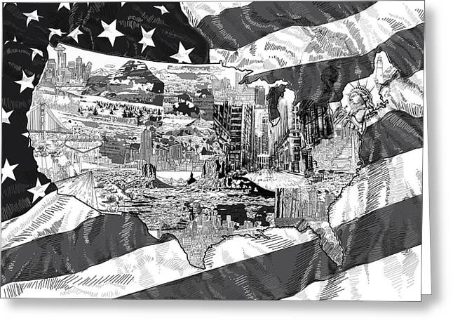 Las Vegas Art Greeting Cards - United States Drawing Collage Map 5 Greeting Card by MB Art factory