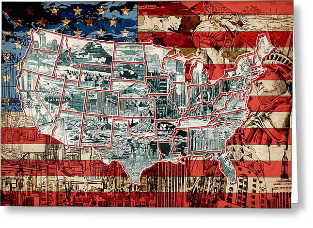 Abstract Map Greeting Cards - United States Drawing Collage Map 6 Greeting Card by MB Art factory