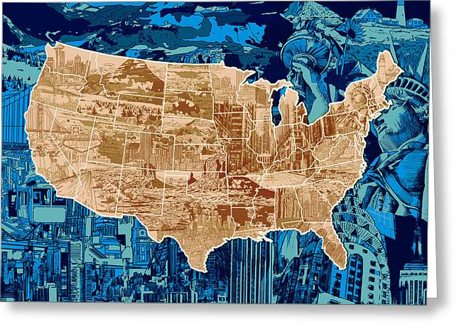 United States Drawing Collage Map  Greeting Card by Bekim Art