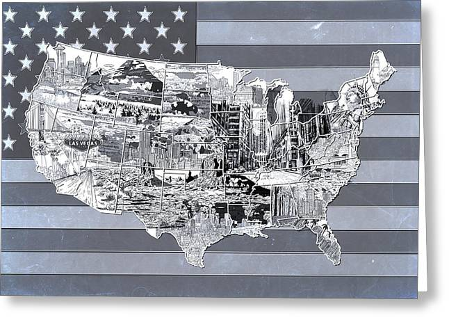 Abstract Map Greeting Cards - United States Flag Map 2 Greeting Card by MB Art factory
