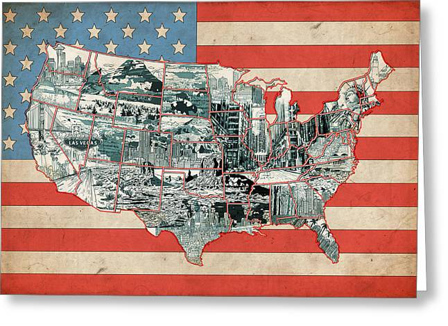 United States Flag Map Greeting Card by Bekim Art