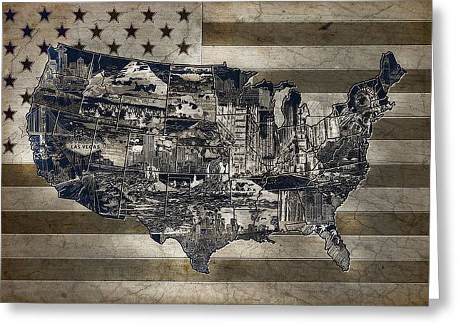 Las Vegas Art Greeting Cards - United States Flag Map Vintage 4 Greeting Card by MB Art factory