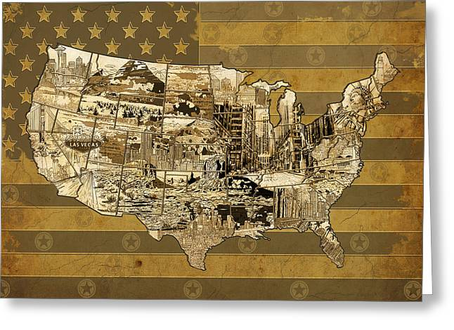 Las Vegas Art Greeting Cards - United States Flag Map Vintage Greeting Card by MB Art factory