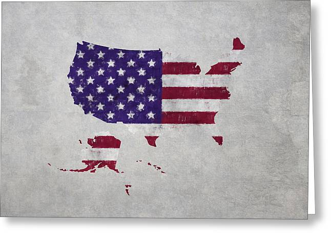 Stripe.paint Greeting Cards - United States Flag Map Greeting Card by World Art Prints And Designs