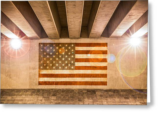 Industrial Concept Greeting Cards - United States Flag Greeting Card by Semmick Photo