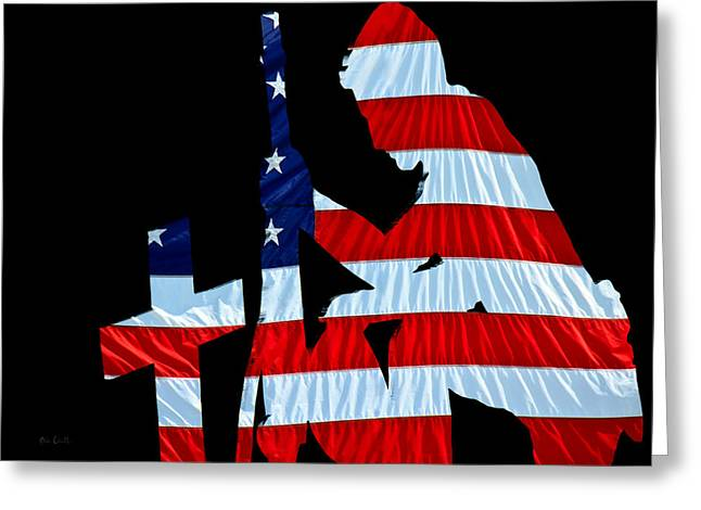 Stripes Greeting Cards - United States Flag with kneeling Soldier silhouette Greeting Card by Bob Orsillo
