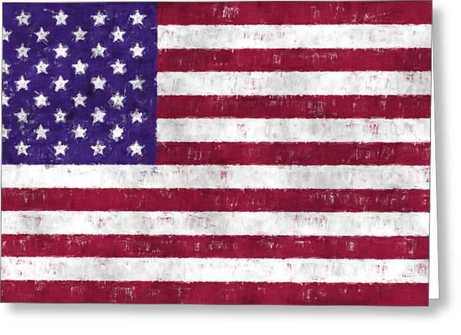 U S Flag Digital Art Greeting Cards - United States Flag Greeting Card by World Art Prints And Designs