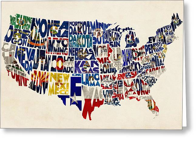 Montana Digital Art Greeting Cards - United States Flags Map Greeting Card by Ayse Deniz