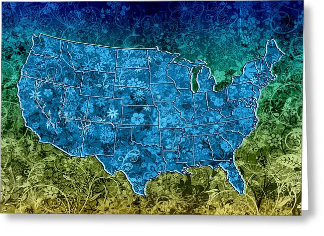 Floral Digital Art Digital Art Greeting Cards - United States Floral Map 3 Greeting Card by MB Art factory