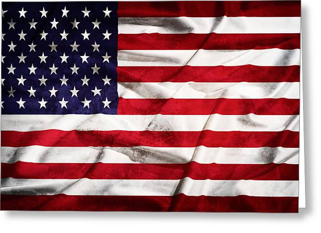 Landmark Tapestries - Textiles Greeting Cards - United States grunge  flag on a silk drape Greeting Card by Stefano Carniccio