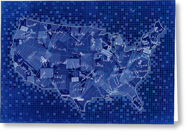 United States Map Collage 7 Greeting Card by Bekim Art