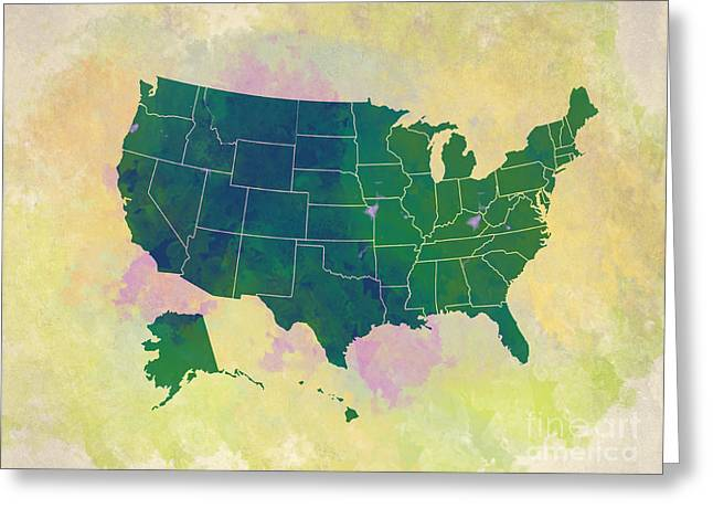 Top Seller Greeting Cards - United States Map - green and watercolor Greeting Card by Paulette B Wright