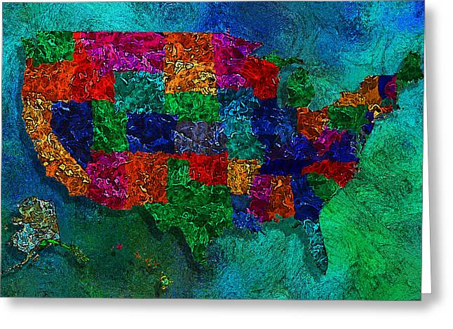 Ak Greeting Cards - United States Map Greeting Card by Jack Zulli