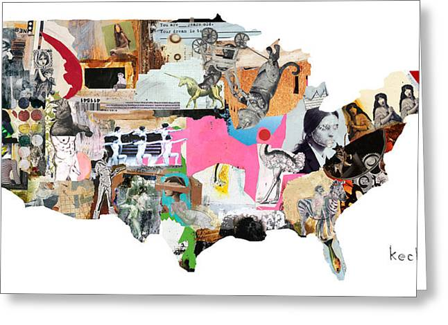 United States Map Greeting Card by Michel Keck