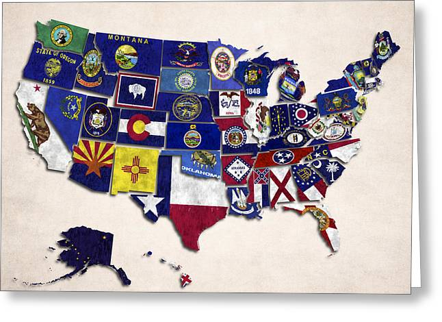 South Dakota Map Greeting Cards - United States Map With Fifty States Greeting Card by World Art Prints And Designs