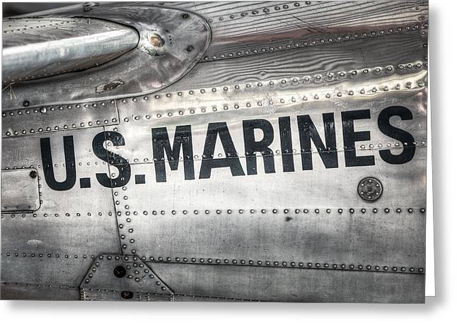 Metal Sheet Greeting Cards - United States Marines - Beech C-45H Expeditor Greeting Card by Gary Heller