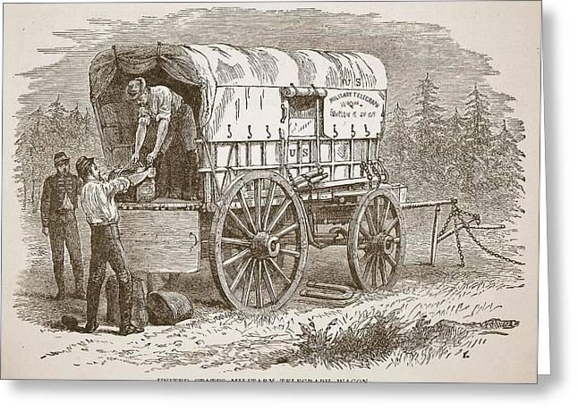 Unloading Greeting Cards - United States Military Telegraph Wagon Greeting Card by American School