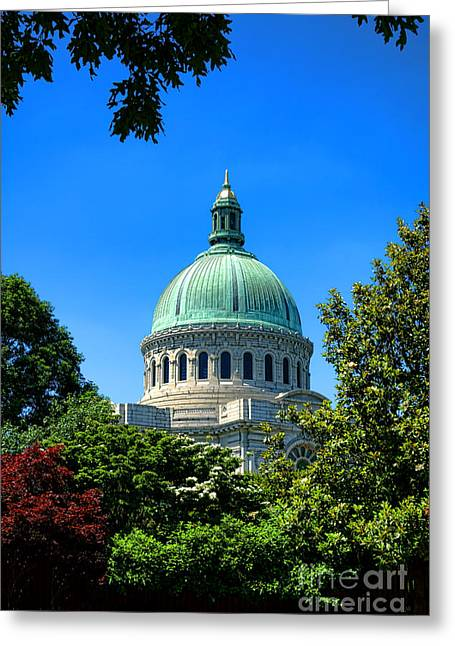Annapolis Md Greeting Cards - United States Naval Academy Chapel Greeting Card by Olivier Le Queinec