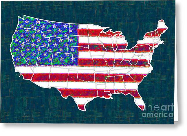 4th July Digital Greeting Cards - United States of America - 20130122 Greeting Card by Wingsdomain Art and Photography