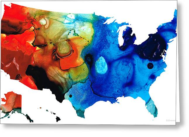 Map Paintings Greeting Cards - United States of America Map 4 - Colorful USA Greeting Card by Sharon Cummings