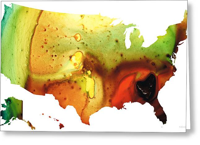 Wall-hanging Paintings Greeting Cards - United States of America Map 5 - Colorful USA Greeting Card by Sharon Cummings