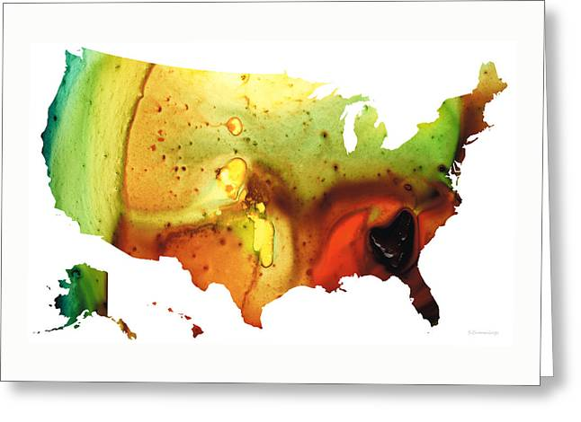 United States Of America Map 5 - Colorful Usa Greeting Card by Sharon Cummings