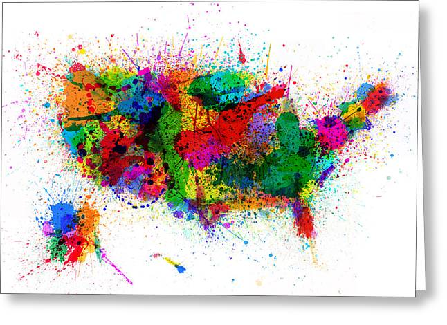 Usa Map Digital Greeting Cards - United States Paint Splashes Map Greeting Card by Michael Tompsett