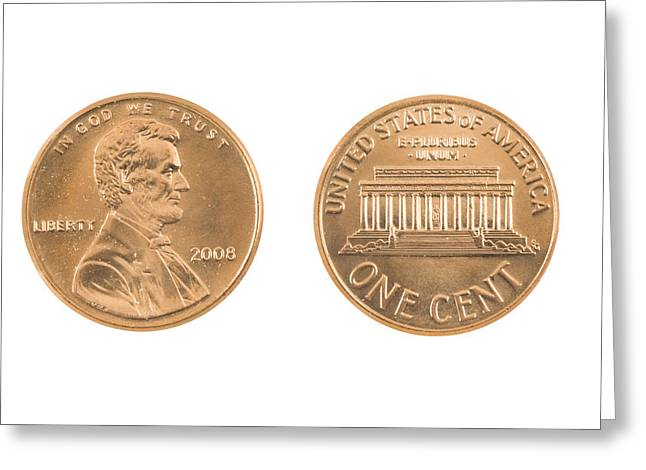 White Background Digital Art Greeting Cards - United States Penny On White Background Greeting Card by Keith Webber Jr