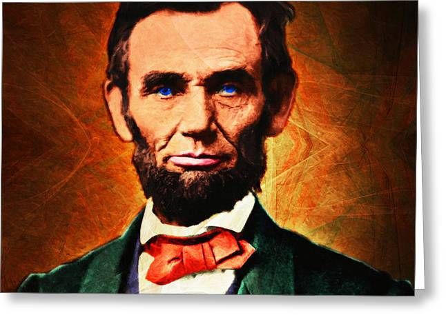Proclamation Greeting Cards - United States President Abraham Lincoln 20140914 square Greeting Card by Wingsdomain Art and Photography