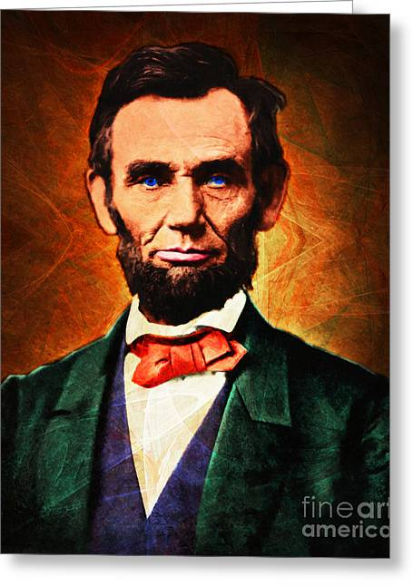 July 4th Greeting Cards - United States President Abraham Lincoln 20140914 Greeting Card by Wingsdomain Art and Photography