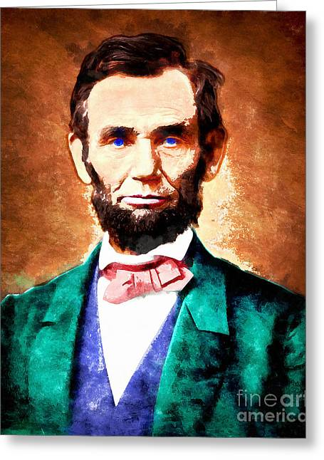 4th July Digital Art Greeting Cards - United States President Abraham Lincoln 20140914wc v1 Greeting Card by Wingsdomain Art and Photography