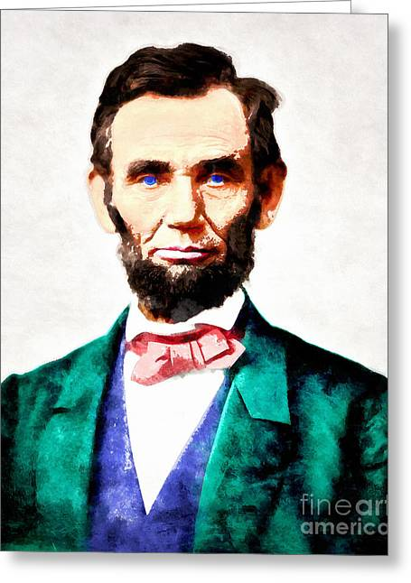 4th July Digital Art Greeting Cards - United States President Abraham Lincoln 20140914wc v2 Greeting Card by Wingsdomain Art and Photography