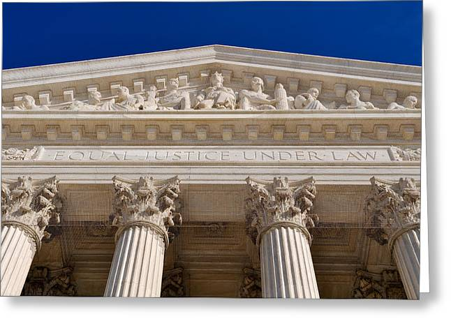 Equality Greeting Cards - United States Supreme Court Pillars Greeting Card by Brandon Bourdages