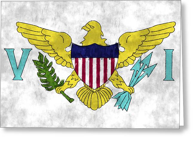 Aruba Greeting Cards - United States Virgin Islands Flag Greeting Card by World Art Prints And Designs