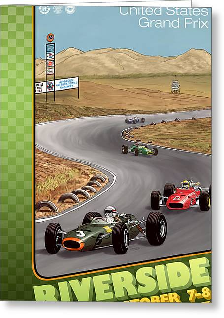 Rally Greeting Cards - United Ststes Riverside Grand Prix 1967 Greeting Card by Nomad Art And  Design