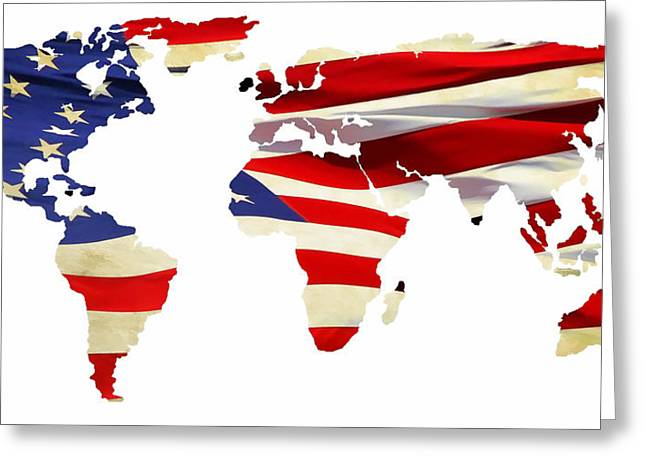 Maps Globes And Flags Greeting Cards - United Worldwide Greeting Card by Athena Mckinzie