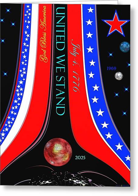 Independence Day Mixed Media Greeting Cards - United We Stand Greeting Card by Romuald  Henry Wasielewski