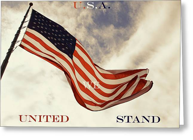 Flag Of Usa Greeting Cards - United We Stand Greeting Card by Tony Grider
