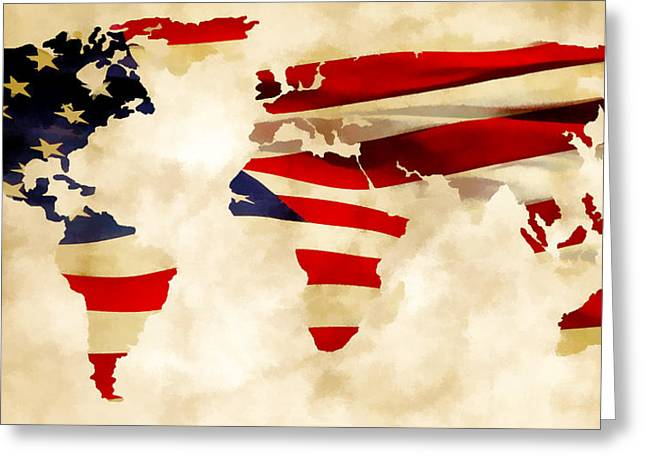 Maps Globes And Flags Greeting Cards - United Worldwide II Greeting Card by Athena Mckinzie