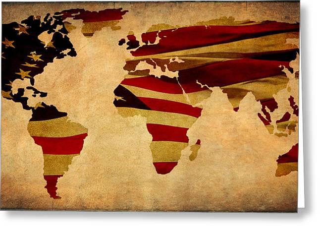 Maps Globes And Flags Greeting Cards - United Worldwide III Greeting Card by Athena Mckinzie