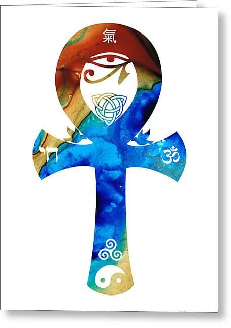 Unity 15 - Spiritual Artwork Greeting Card by Sharon Cummings