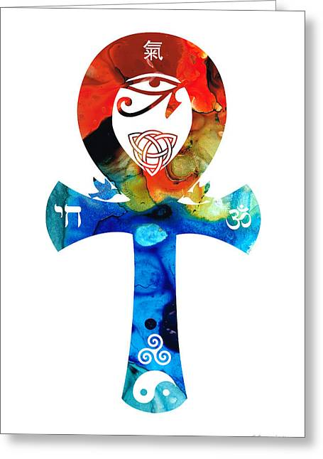 Religion Framed Prints Greeting Cards - Unity 16 - Spiritual Artwork Greeting Card by Sharon Cummings