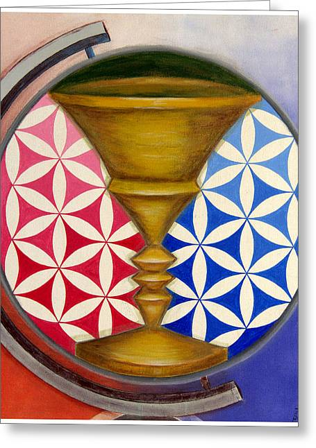 Conscious Paintings Greeting Cards - Unity Grail Greeting Card by Sohel Mehboob